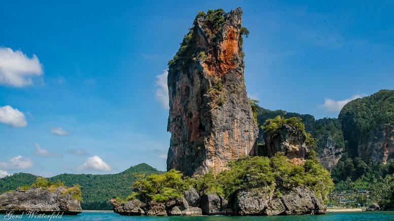 The Ao Nang Tower. A rocky island near Ao Nang Beach in Krabi province
