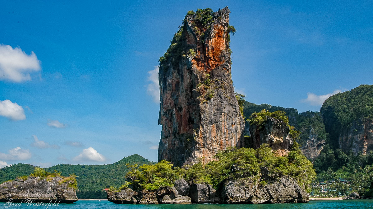 The Ao Nang Tower. A rocky island near Ao Nang Beach in Krabi province