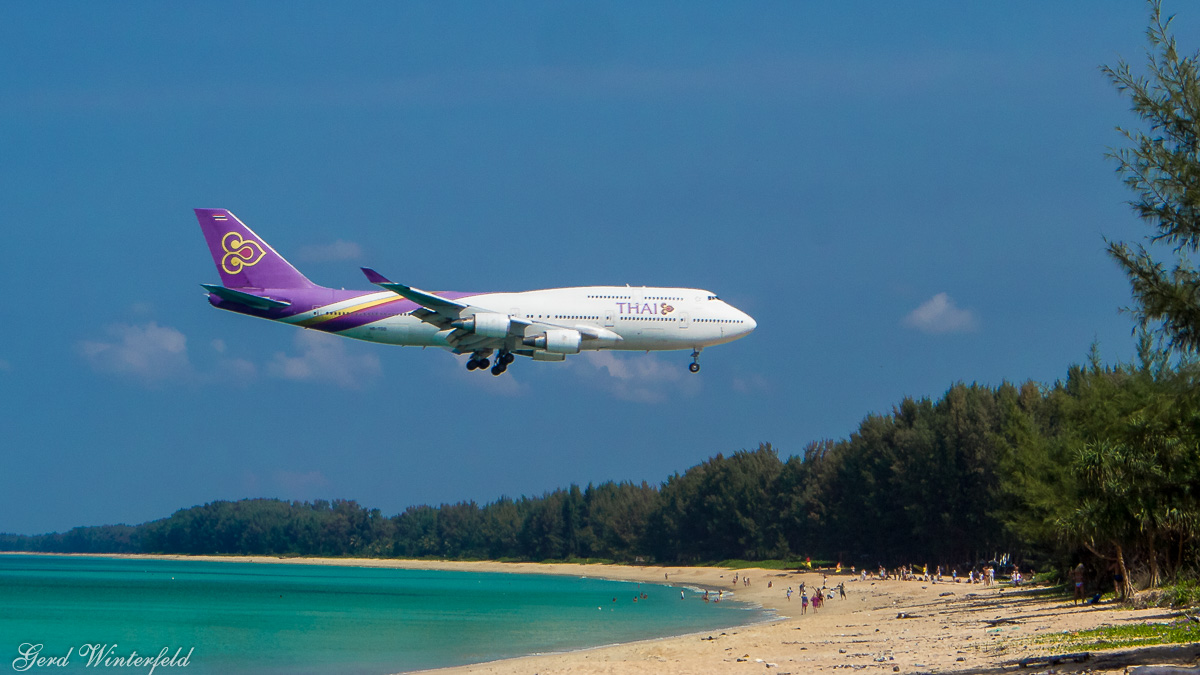 Thai Boeing 747 at Phuket Airport